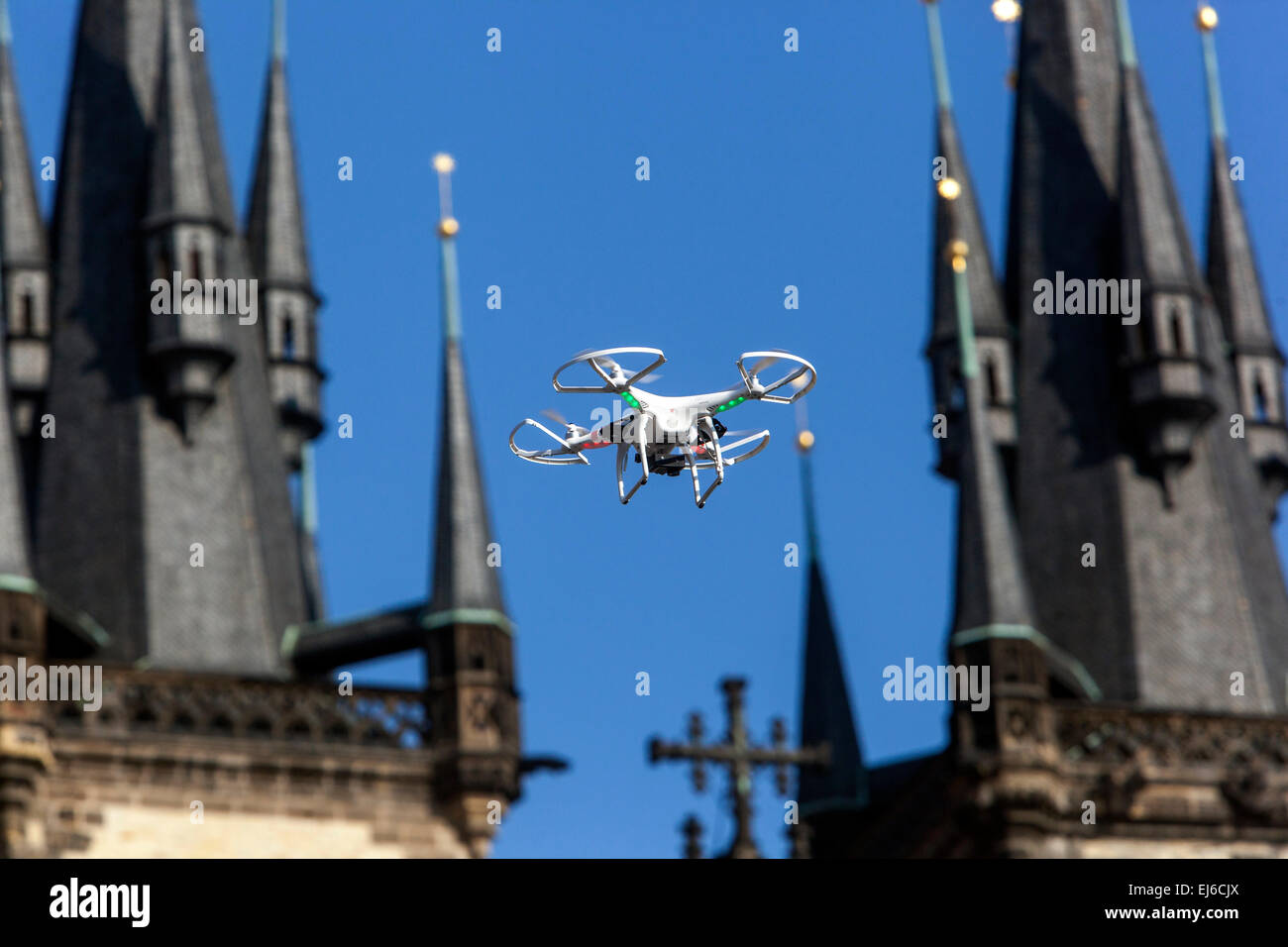 Flying drone between two towers, Tyn church, Old Town Square Prague Czech Republic Europe - Stock Image