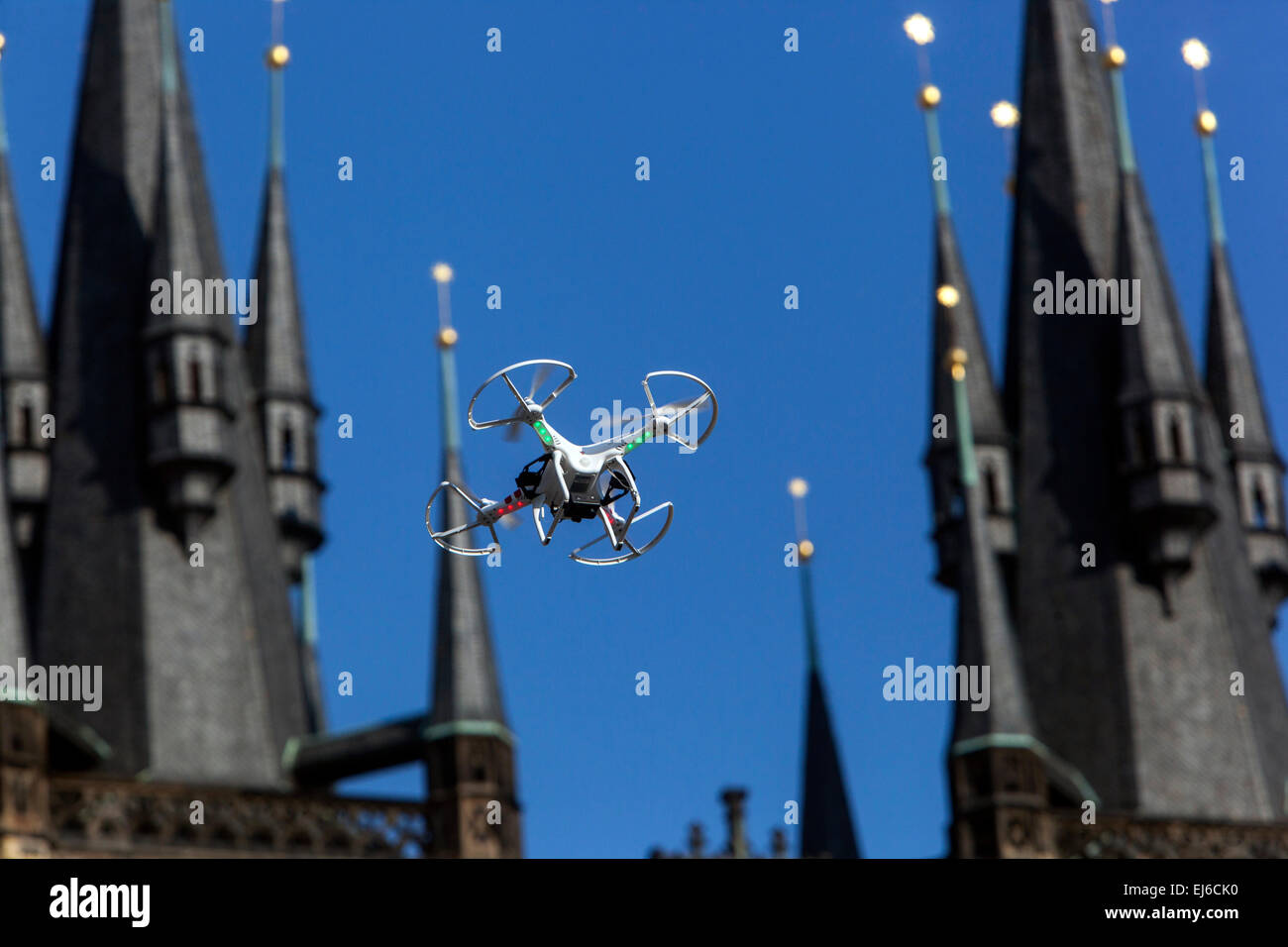 Drone Old Town Square, Tyn Church spire, Prague Czech Republic Europe - Stock Image
