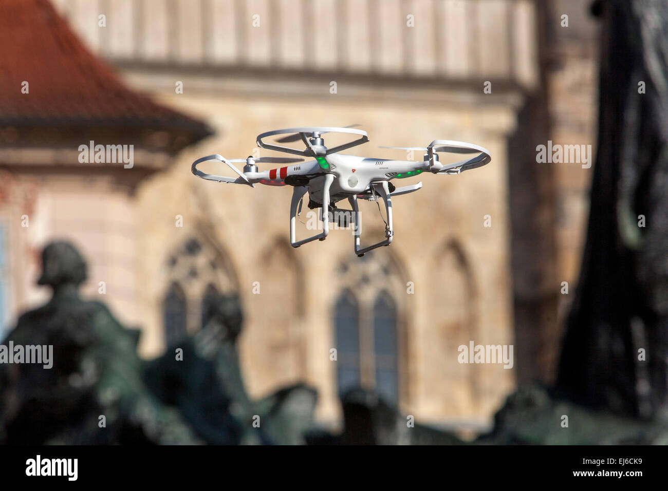 Flying drone Old Town Square Prague Czech Republic Europe - Stock Image