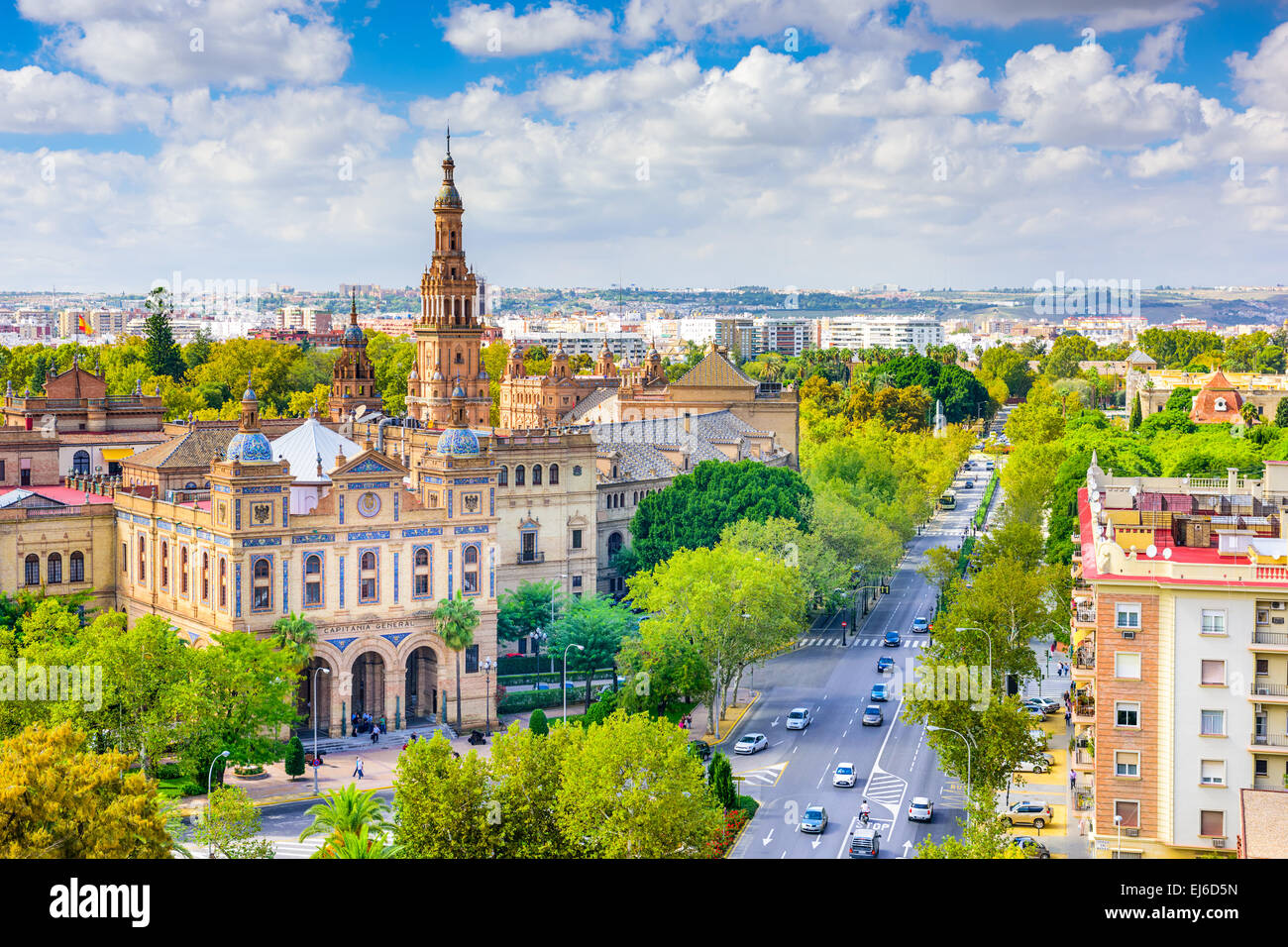 Seville, Spain cityscape towards Plaza de Espana. - Stock Image