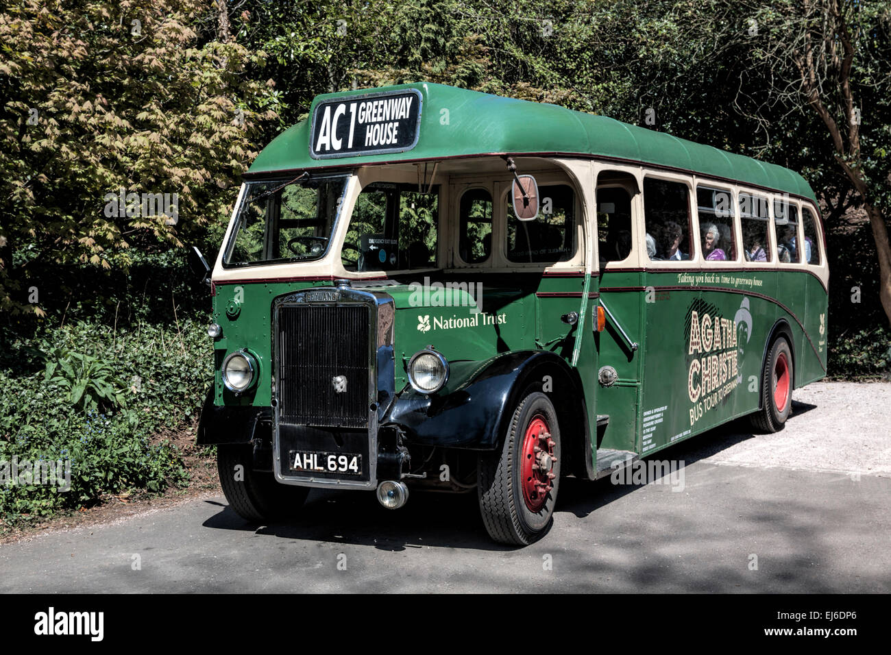 Vintage  bus for transport to Greenway, the late Agatha Christie's summer residence, Devon, UK. - Stock Image