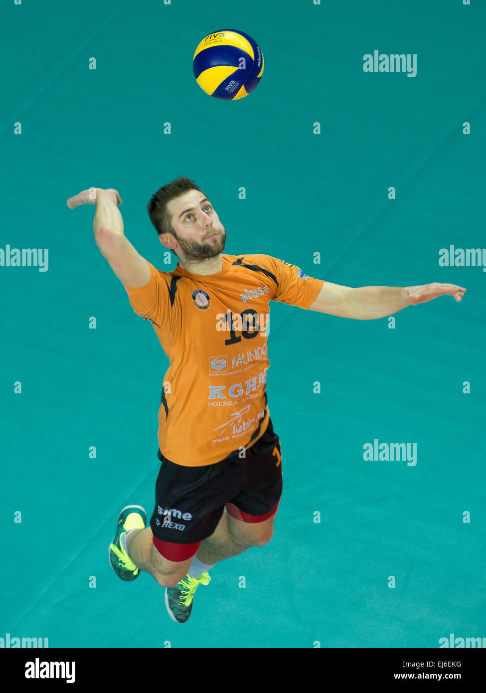 Grzegorz Lomacz in action during match PlusLiga in volleyball  between Cuprum Lubin - Effector - Stock Image