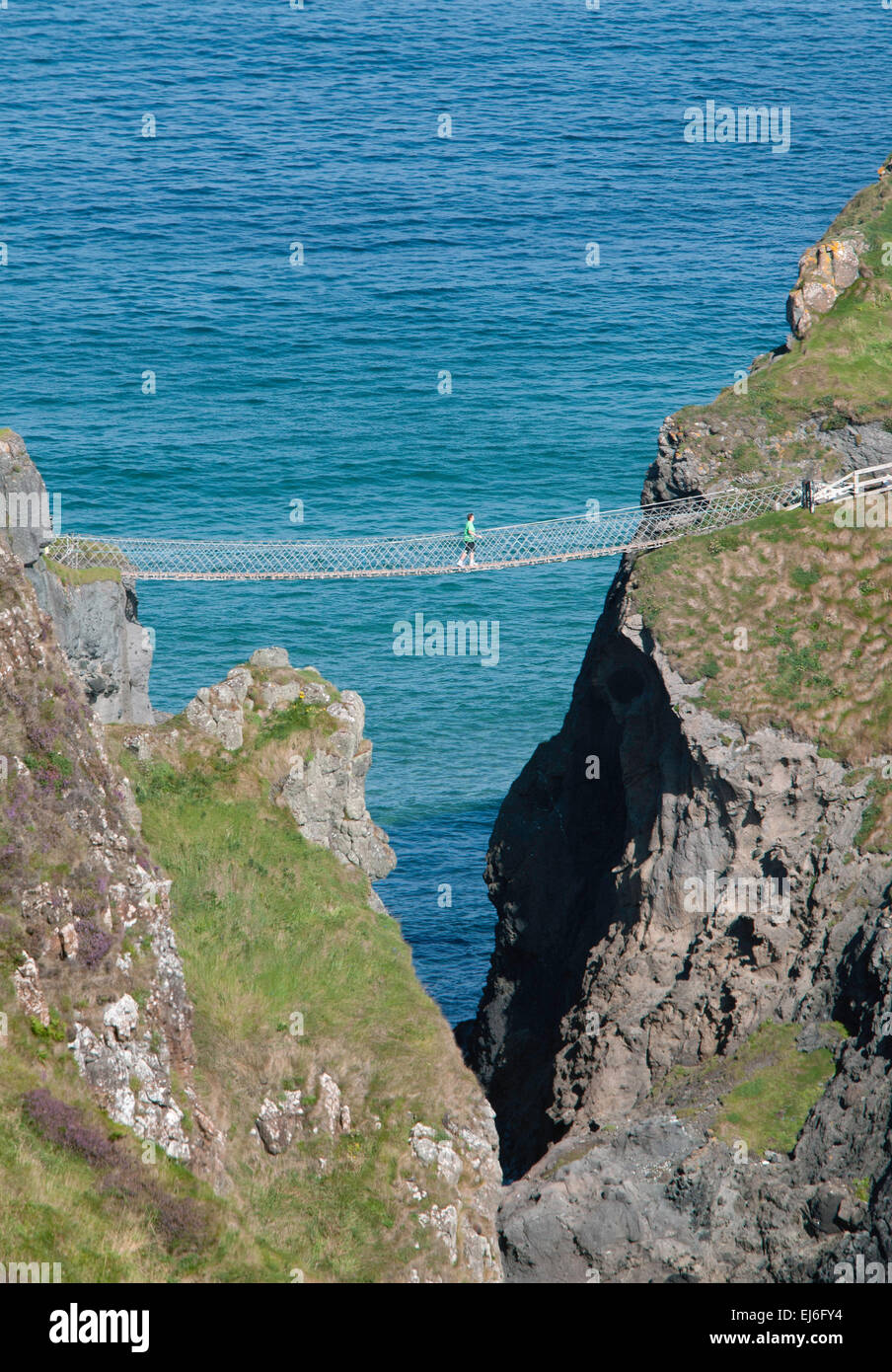 Carrick-a- Rede Rope Bridge, County Antrim, Northern Ireland - Stock Image