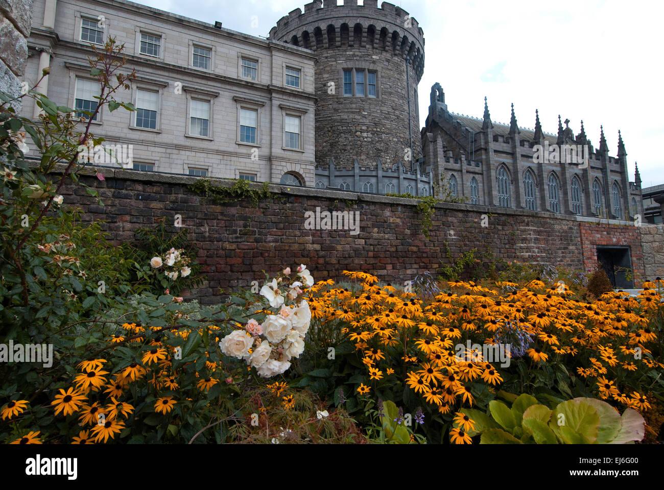 Dublin Castle from the Garda Memorial Garden Stock Photo
