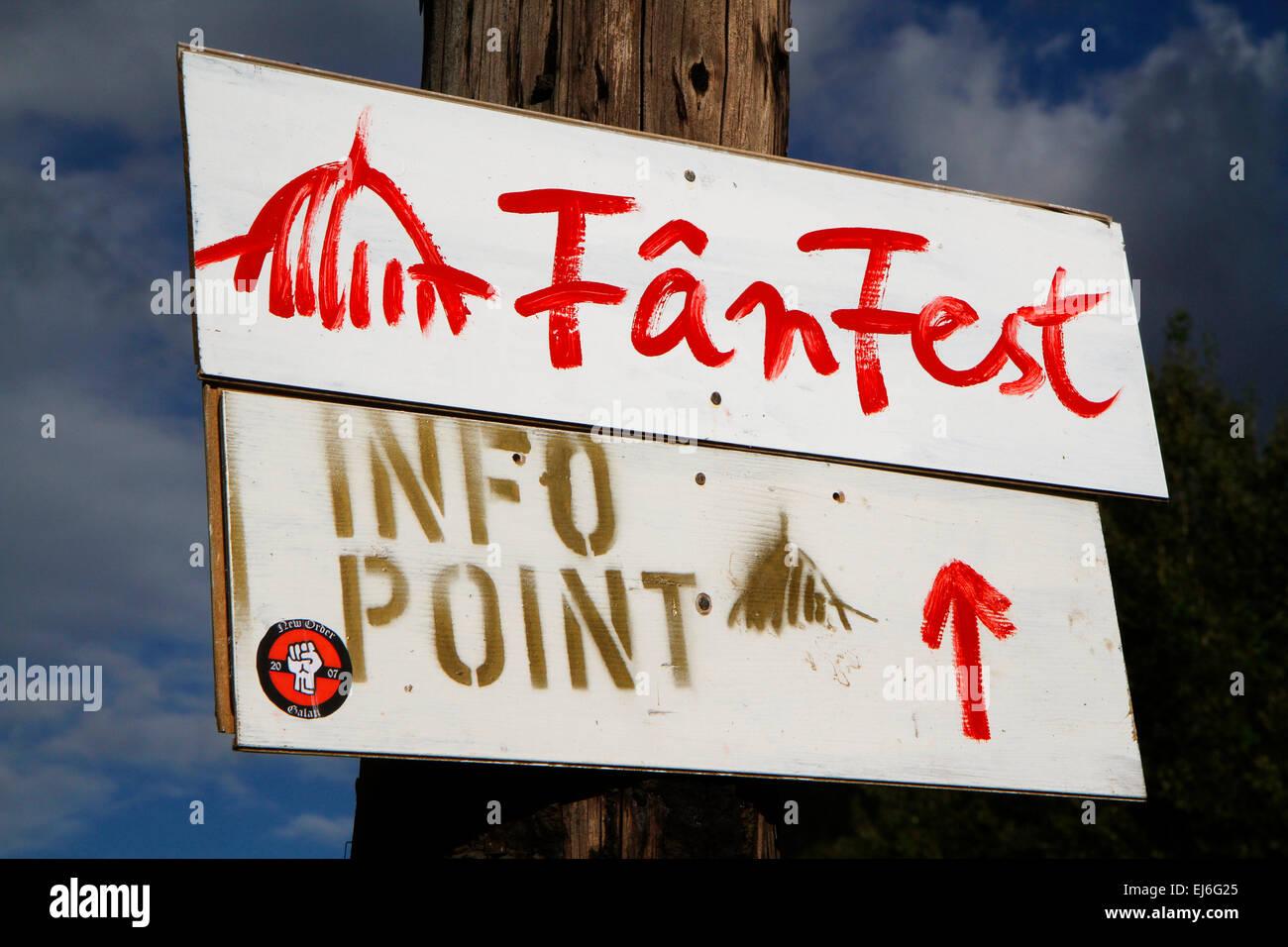 Fan Fest sign at Rosia Montana, Romania - Stock Image