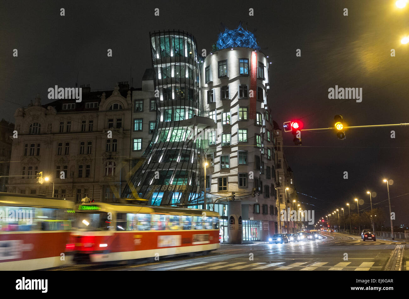 Dancing House by Vlado Milunić and Frank Gehry. Prague, Czech Republic - Stock Image