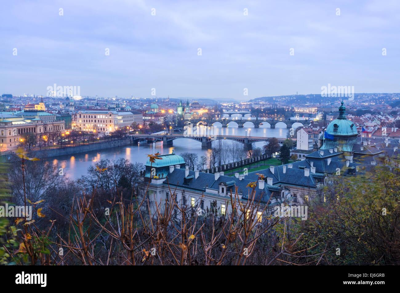 Bridges over the Vltava river, as seen from Letná at dusk. Prague, Czech Republic - Stock Image