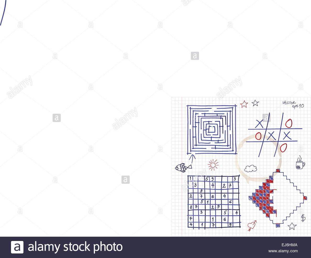 Hand drawn games in notepad  Vector eps10 Stock Vector Art