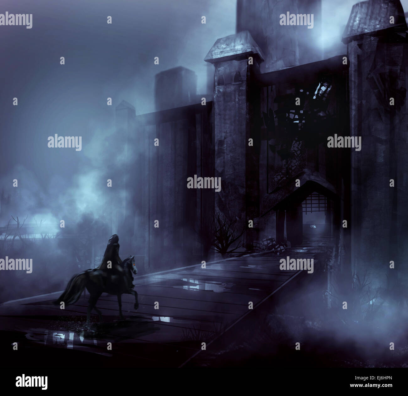 Scary Night Castle In Fog With Fantasy Horseman Riding On A Wooden Bridge Illustration