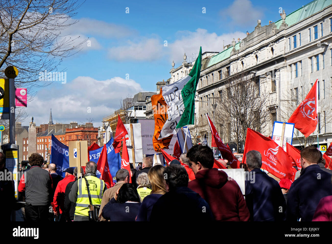 Water protest march Dublin Anti-water charges protesters in Dublin's O'Connell street on 21-03-15 - Stock Image