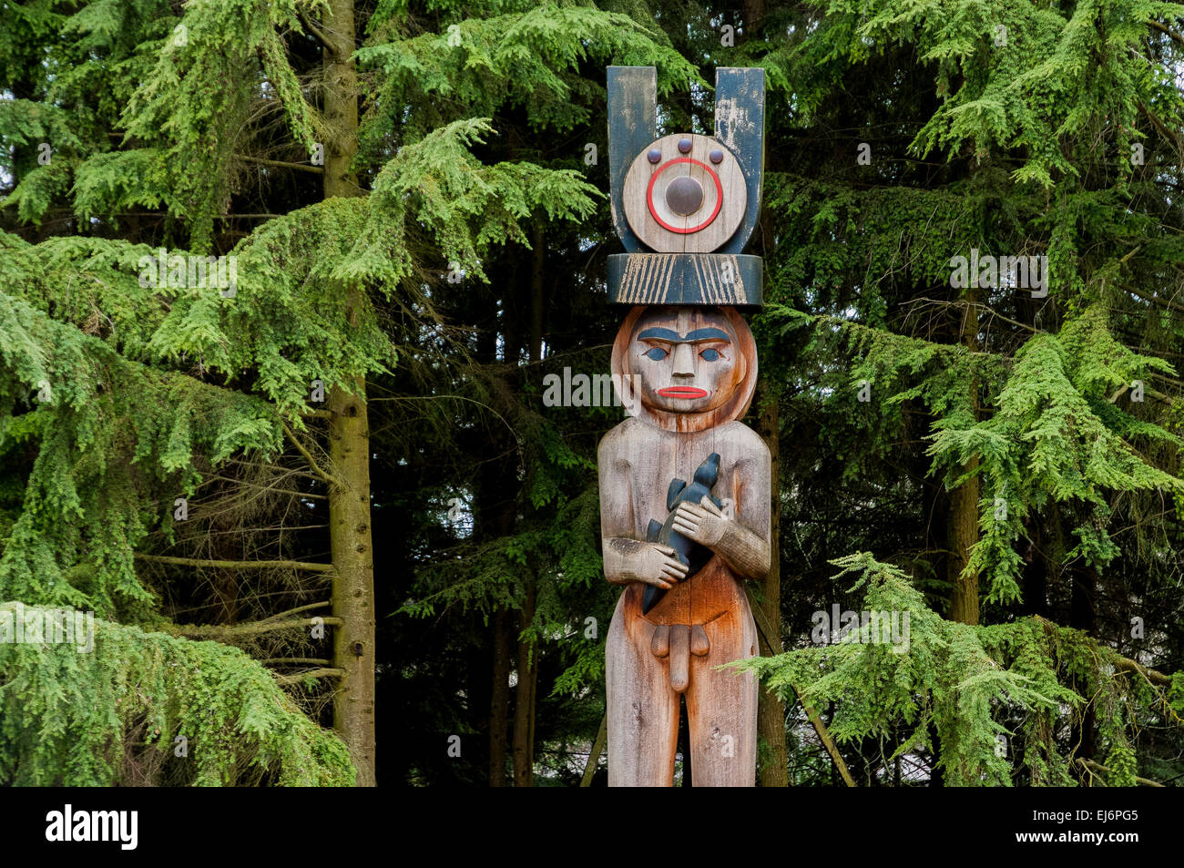 Totem pole, Museum of Anthropology grounds, UBC, Vancouver, British Columbia, Canada - Stock Image