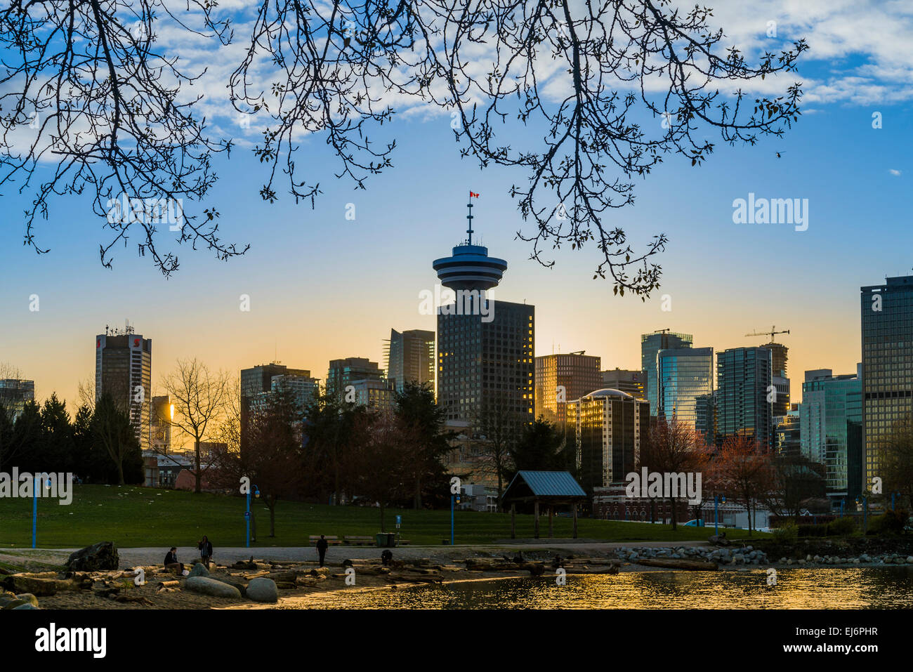 Harbour Centre Tower and Vancouver skyline, Crab / Portside Park, Vancouver, British Columbia, Canada - Stock Image