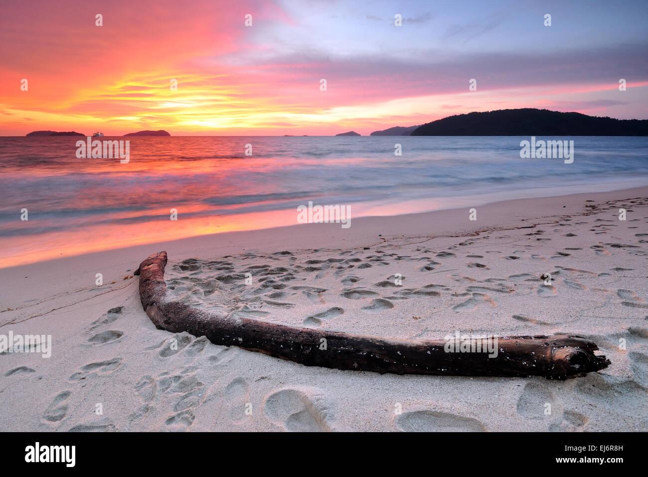 Sunset at the beach in Kota Kinabalu Sabah Borneo Malaysia - Stock Image