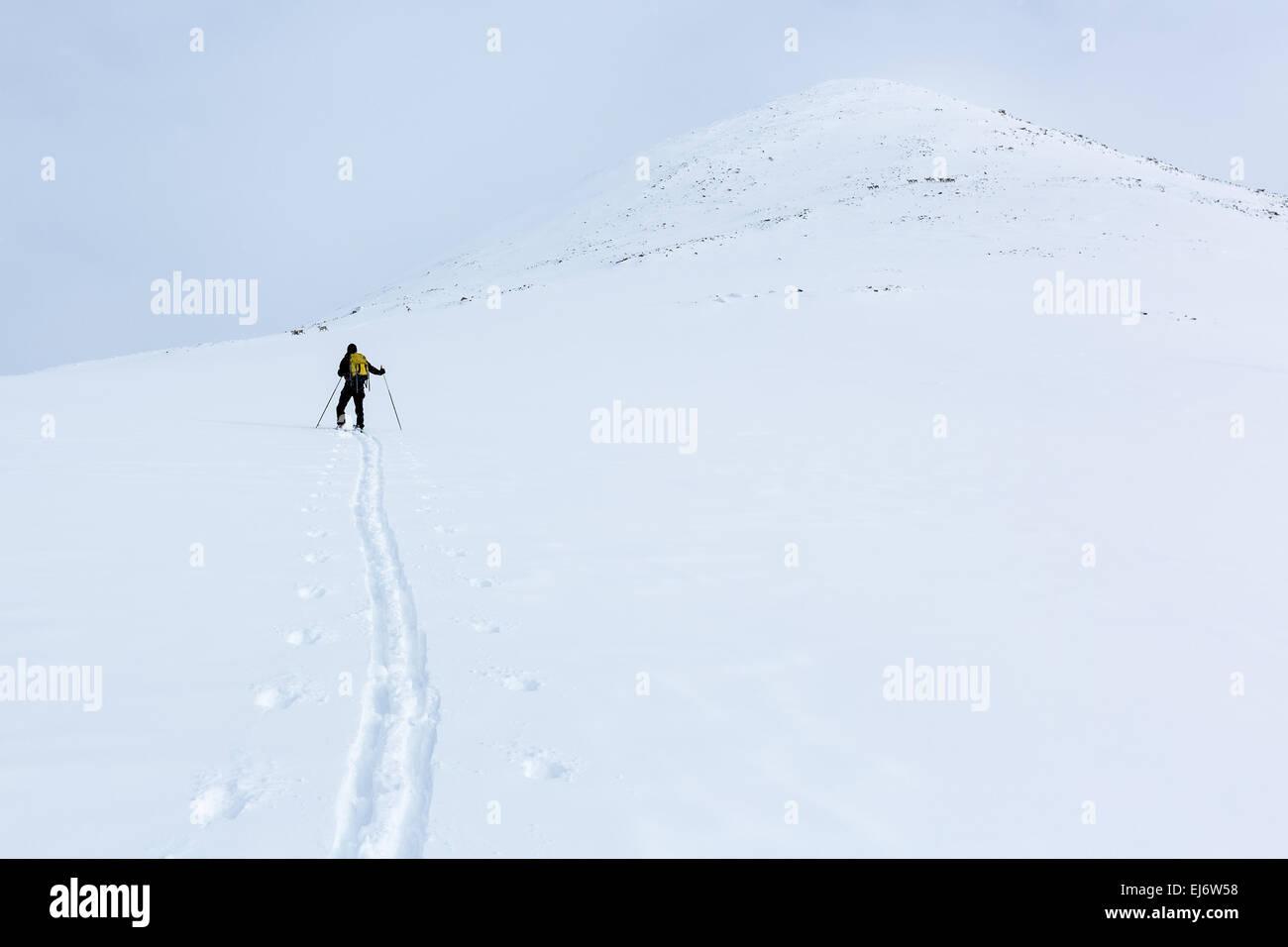 Heading towards to summit of Nallo mountains, Kebnekaise mountain area, Kiruna, Sweden, Europe, EU - Stock Image