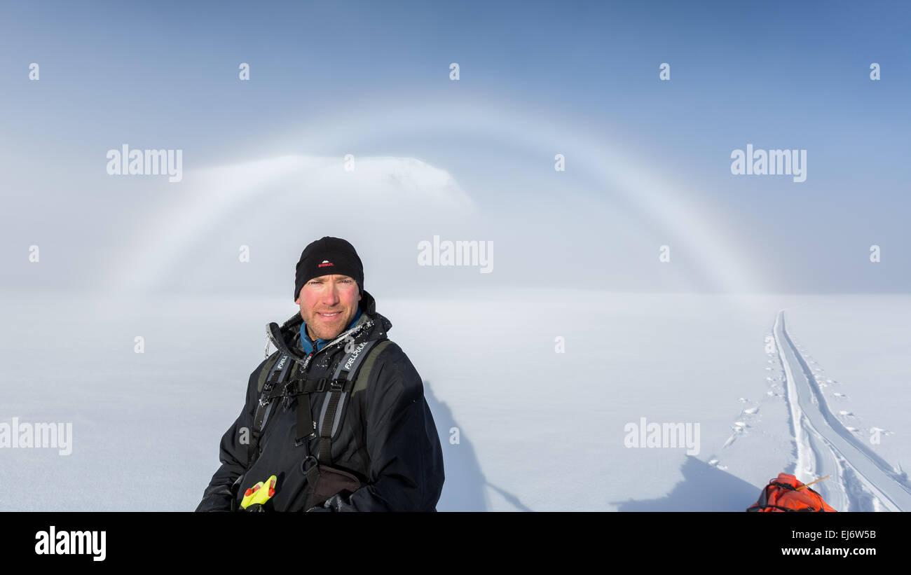 A halo at Kebnekaise mountain area, Kiruna, Sweden, Europe, EU - Stock Image