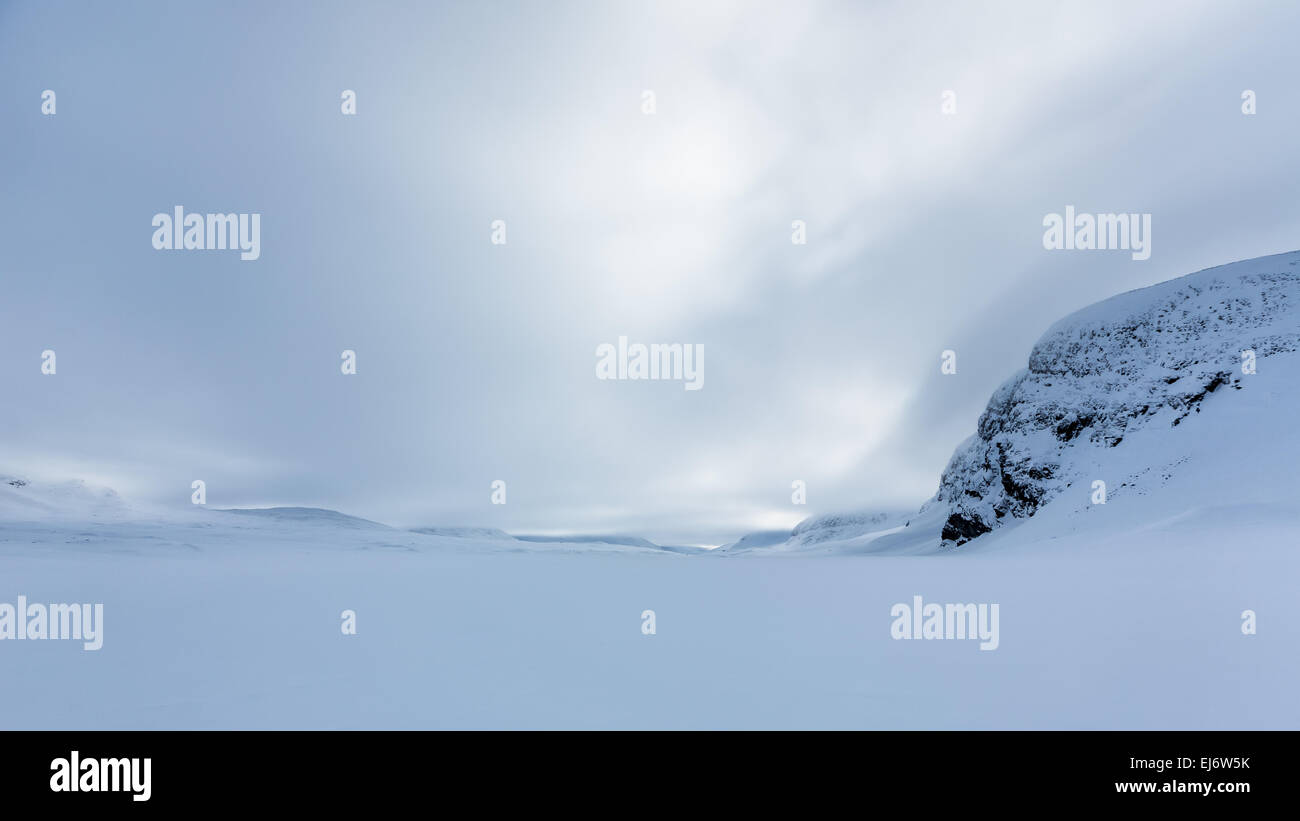 Vast snow covered Kebnekaise mountain area, Kiruna, Sweden, Europe, EU - Stock Image