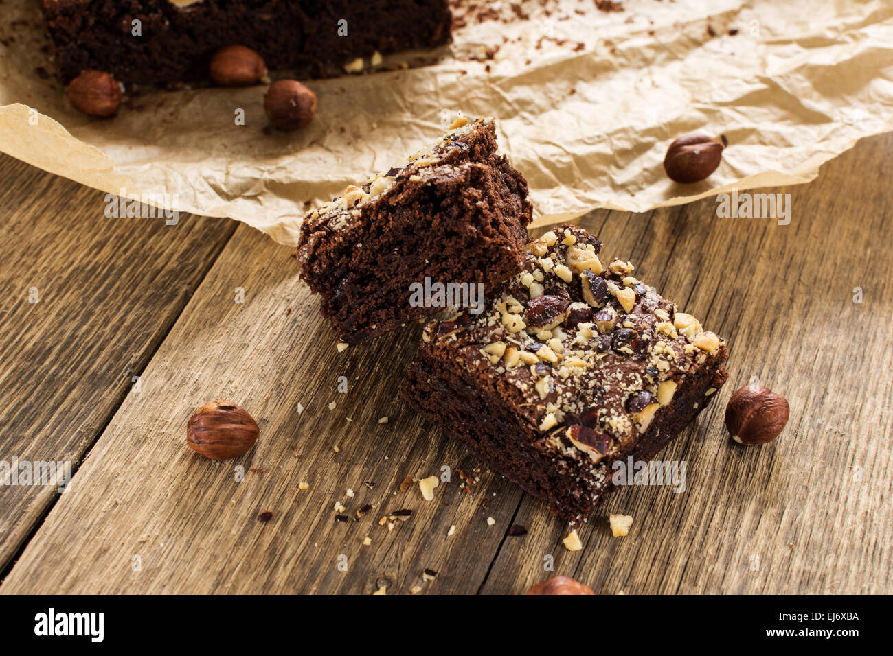 Cocoa and chocolate brownies dessert with hazelnut - Stock Image