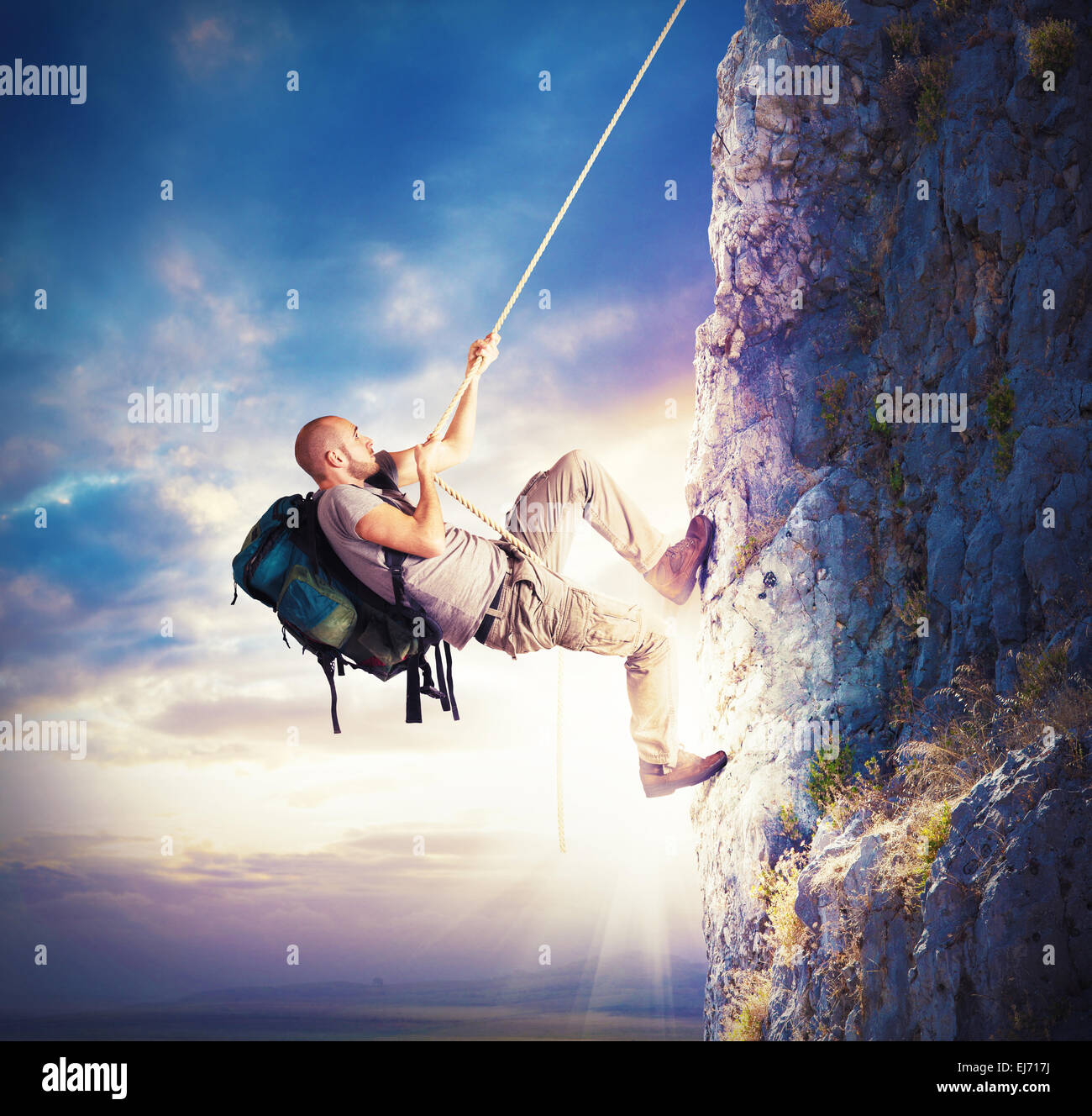 Climbing mountains - Stock Image