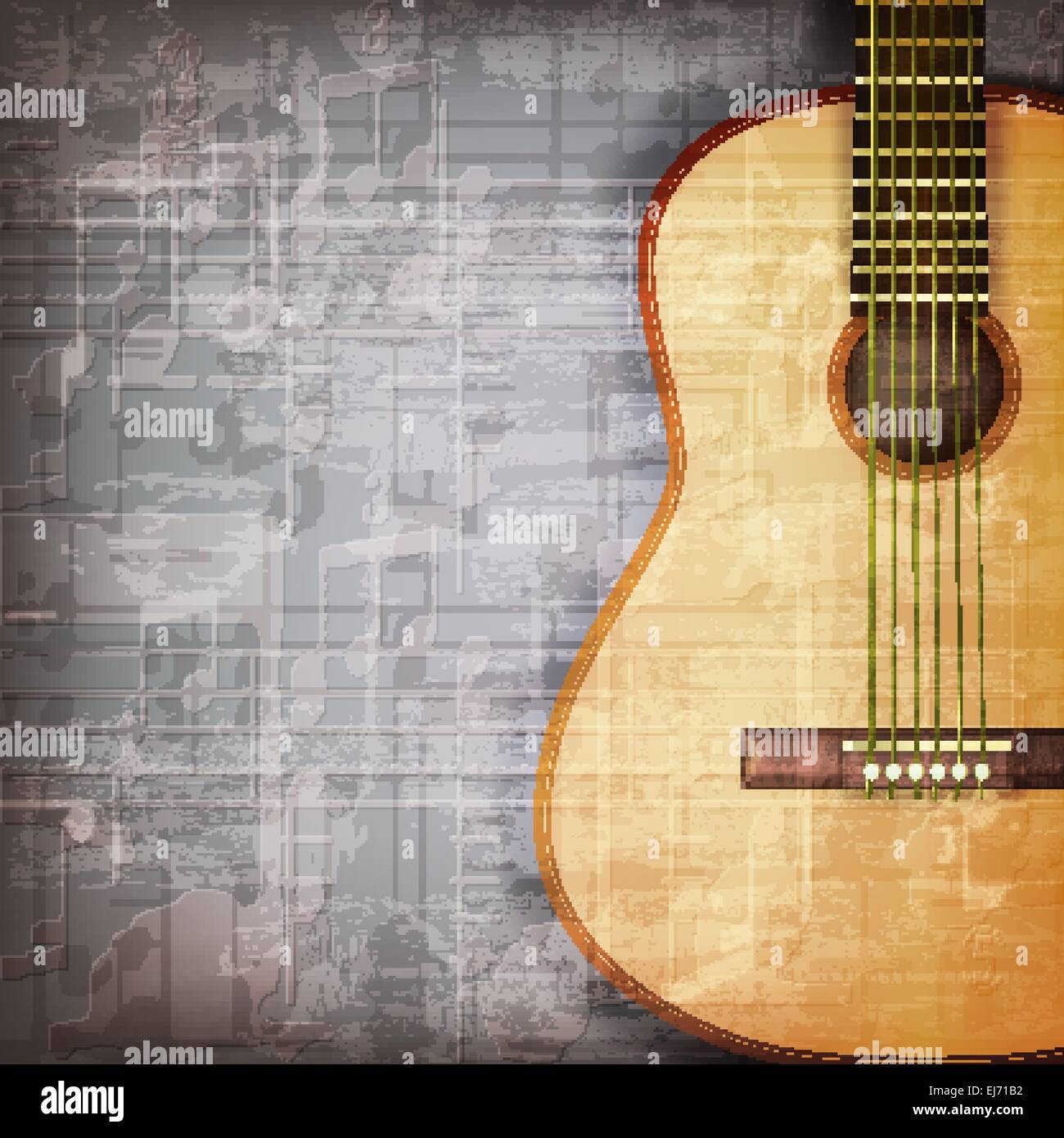 abstract grunge gray music background with acoustic guitar Stock ...