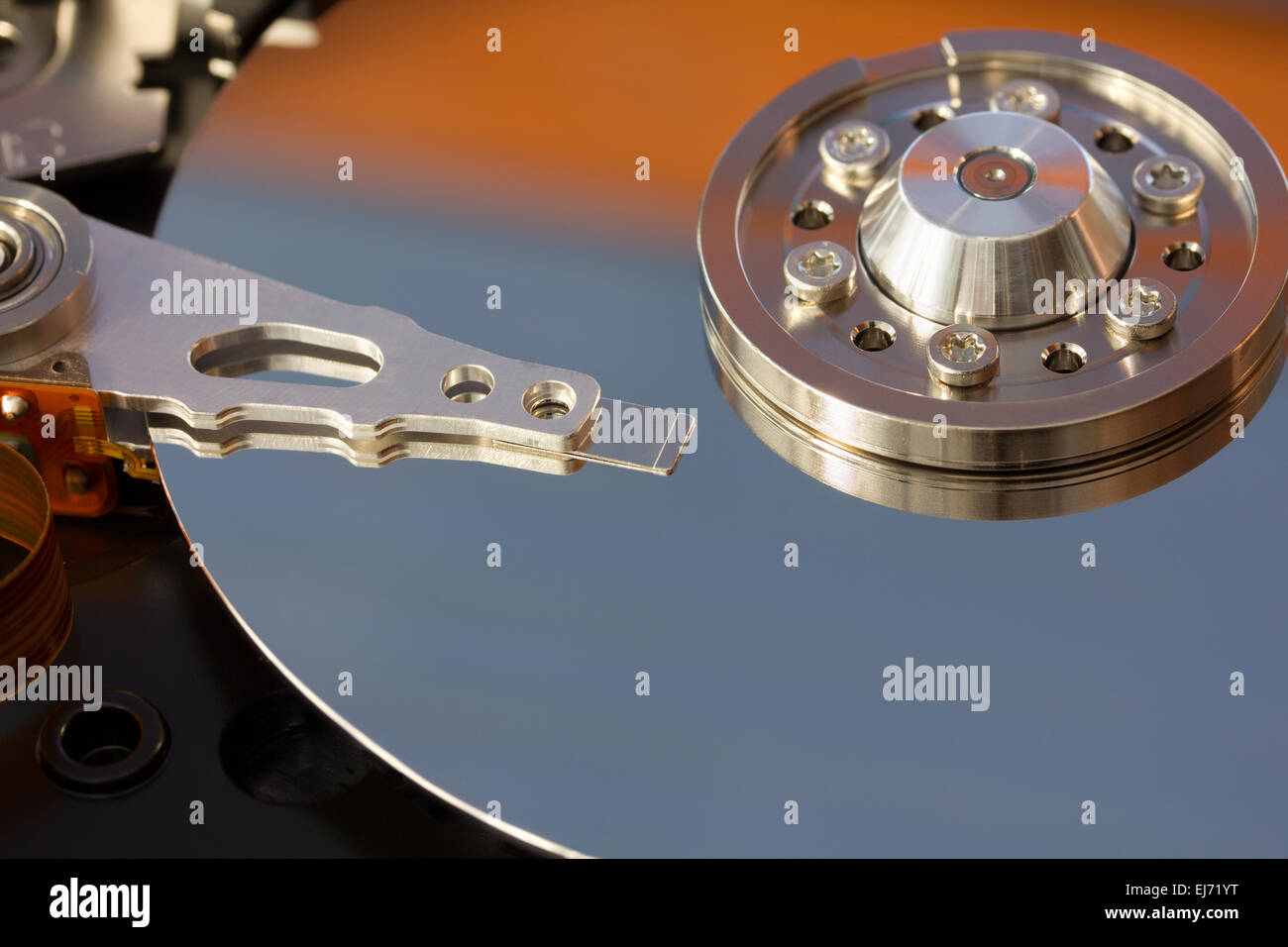 Computer Hard Drive with Head and Disk - Stock Image