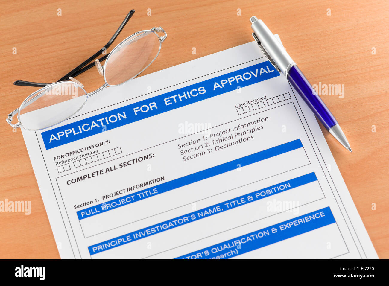 Application for Ethics Approval Form on Table Stock Photo