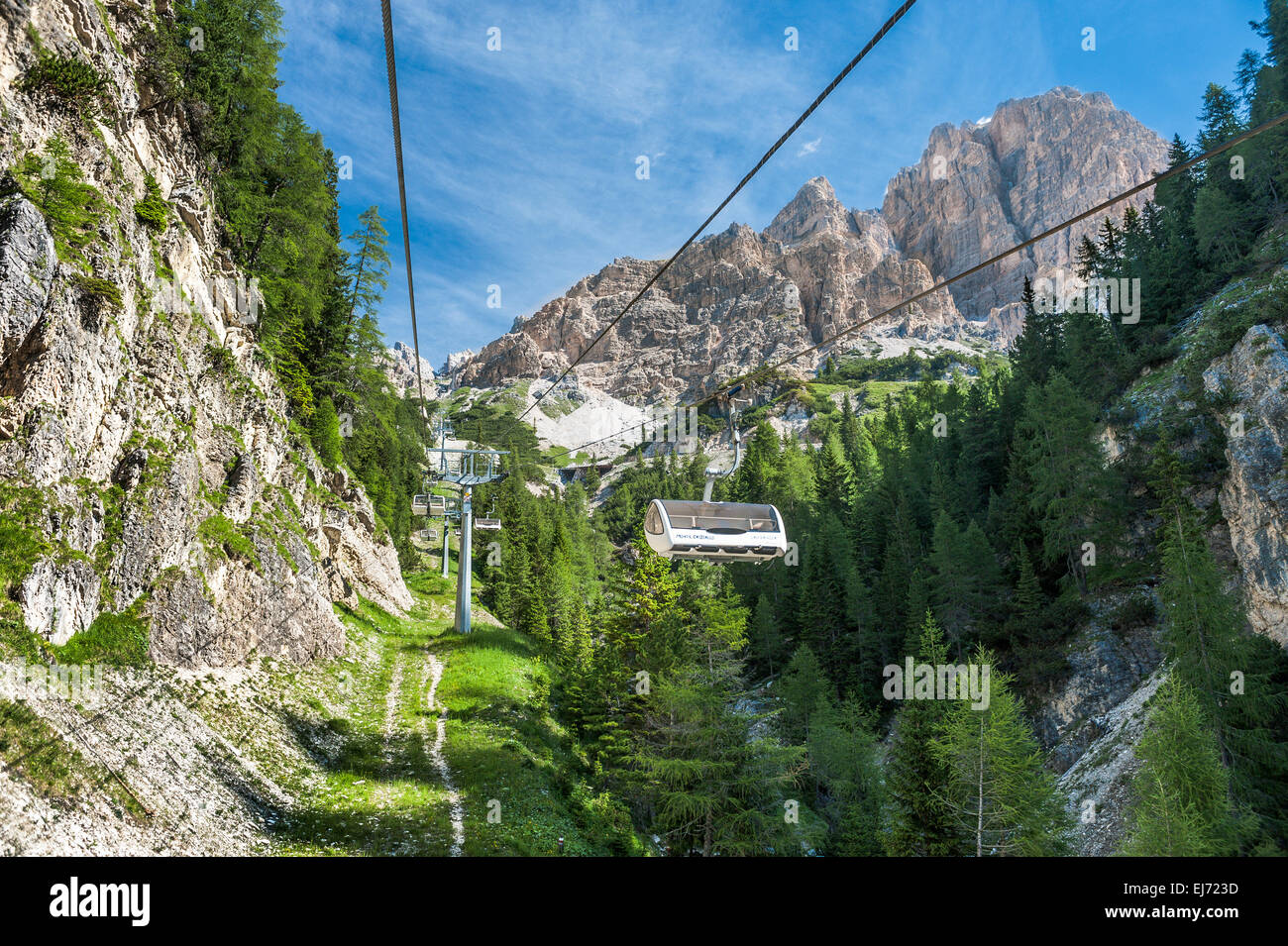 Chairlift from Rio Gere in Val Begontina to the Rifugio Son Forca, 2215 m, Val Padeon, Cristallo group, Ampezzo - Stock Image