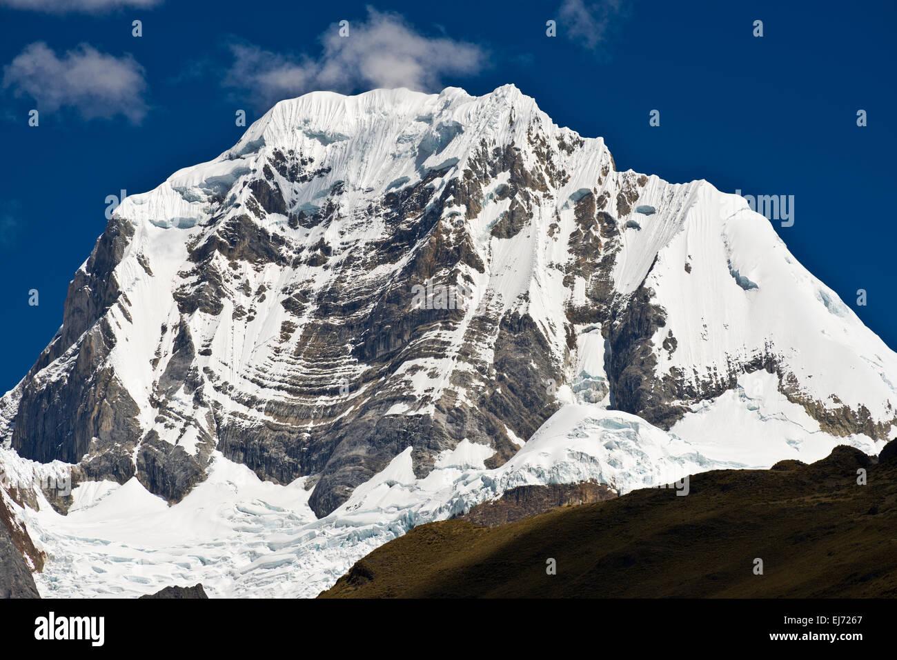 Snowy mountain Siula Grande, Cordillera Huayhuash mountain range, Andes, northern Peru, Peru - Stock Image