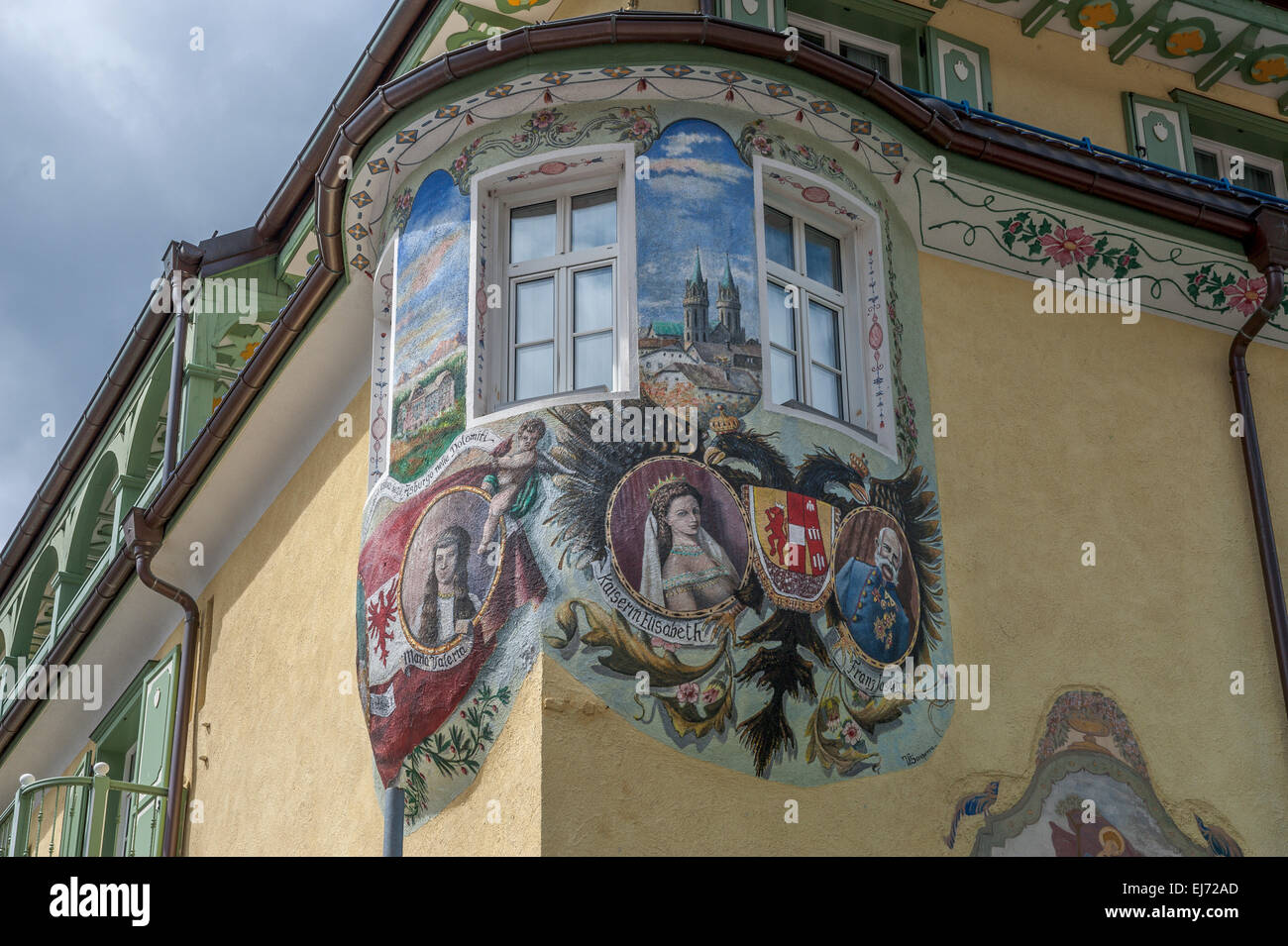 Hotel Dolomiti, bay window with wall painting design of the Austrian Empire, Canazei, Trentino-Alto Adige, Italy - Stock Image