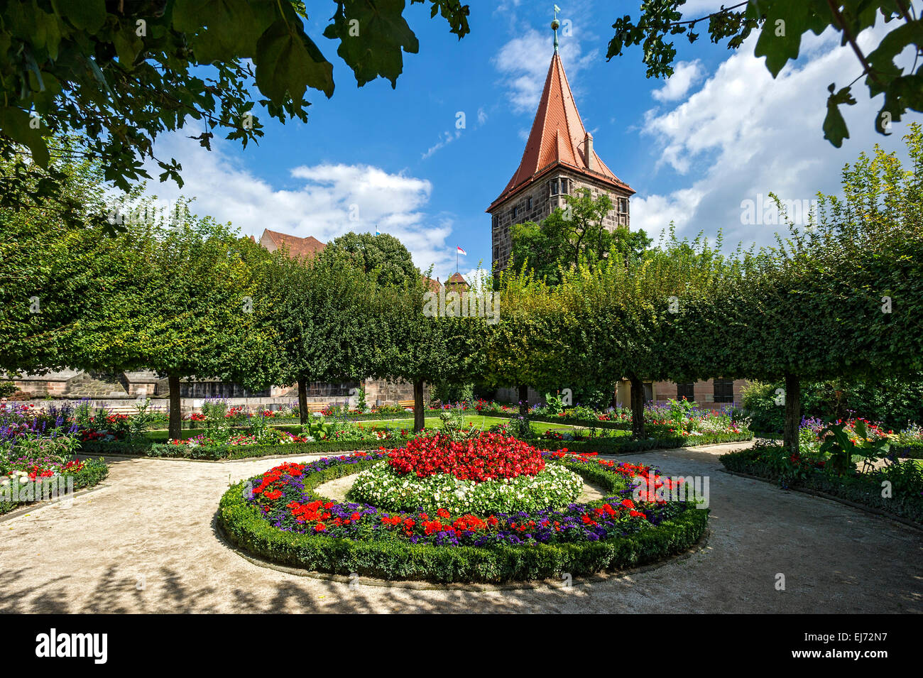 Gardens, Lower Bastion, tower Tiergärtnertor gate, Kaiserburg, Imperial Castle, Nuremberg, Middle Franconia, - Stock Image