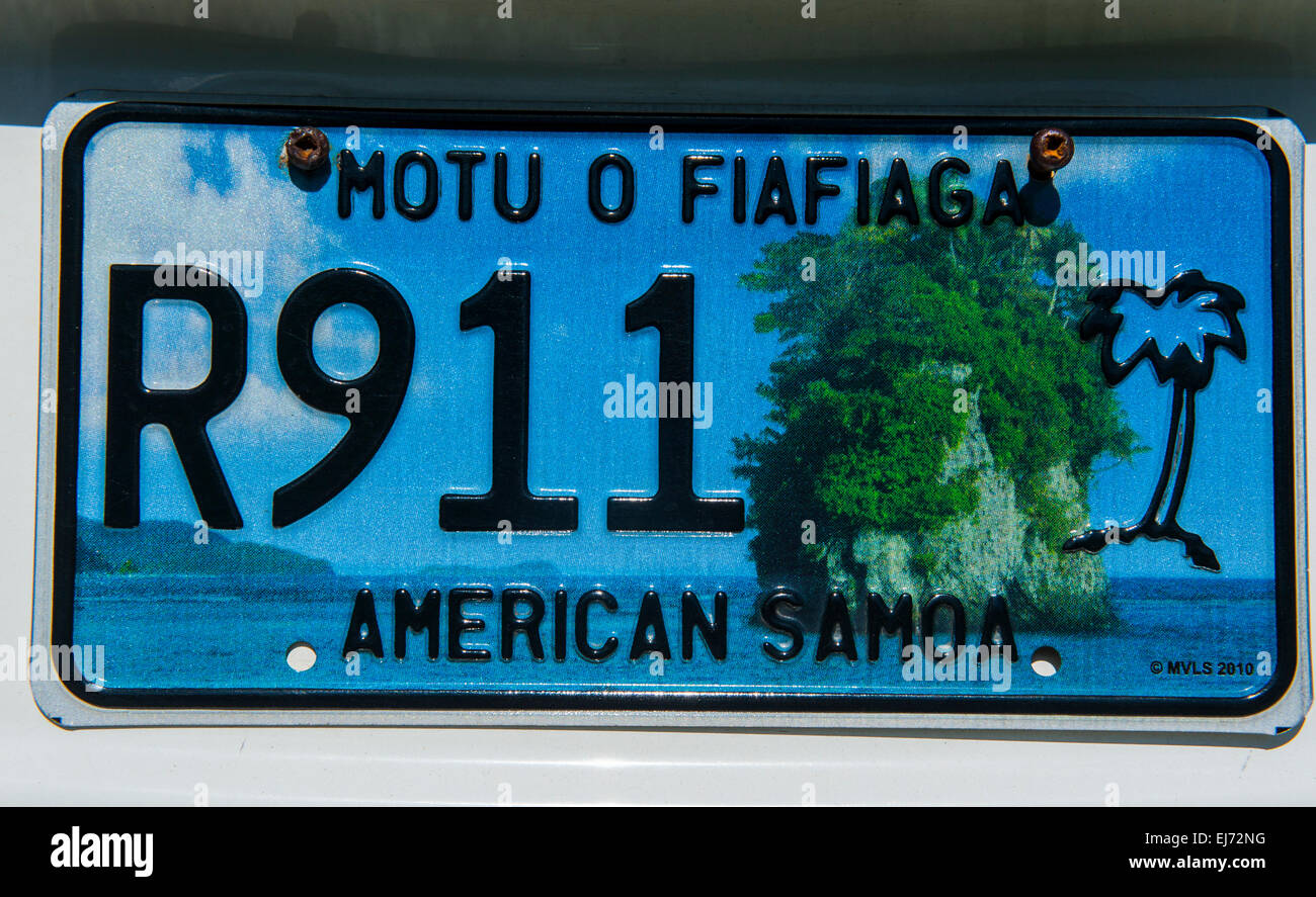 License plate, American Samoa - Stock Image