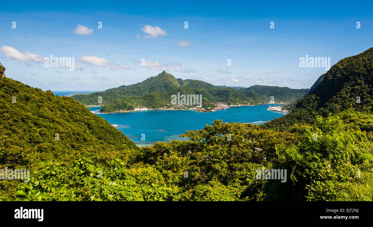View over Pago Pago Harbor, Tutuila, American Samoa - Stock Image