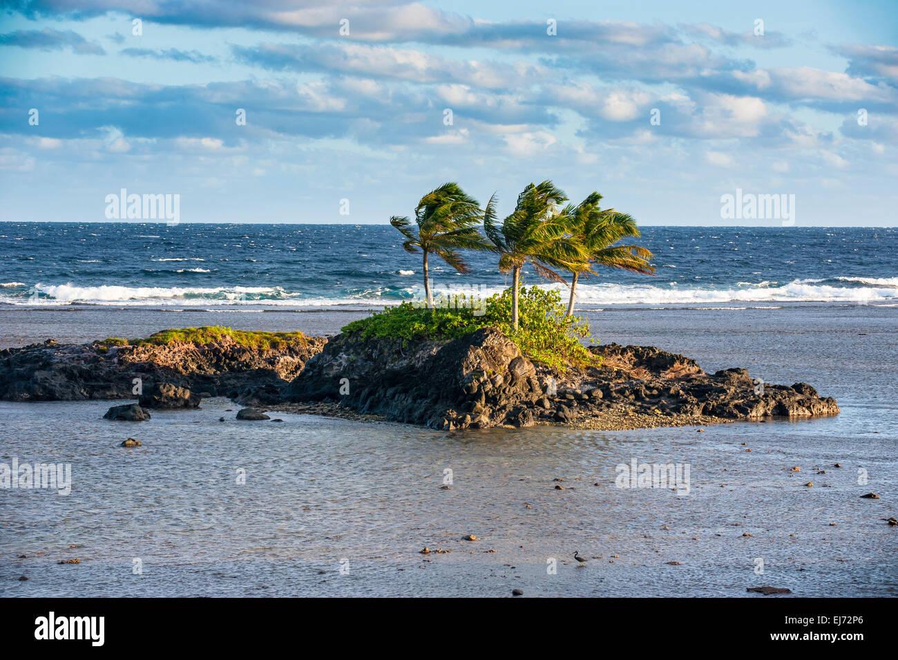 Rocky islet, Tutuila, American Samoa - Stock Image