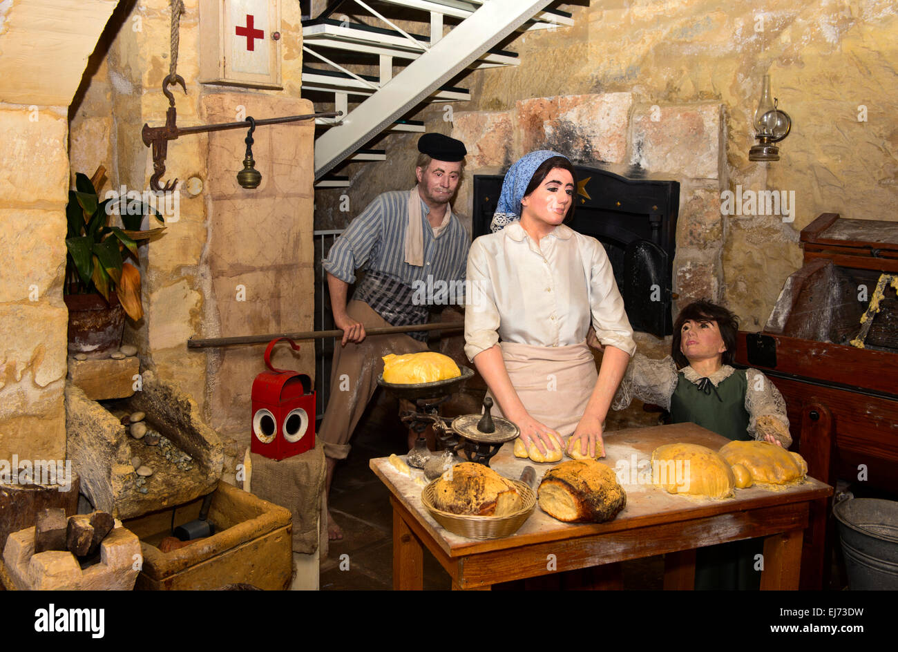 Replica of a traditional Maltese bakery in the exhibit area of the Nenu The Artisan Baker restaurant, Valletta, - Stock Image