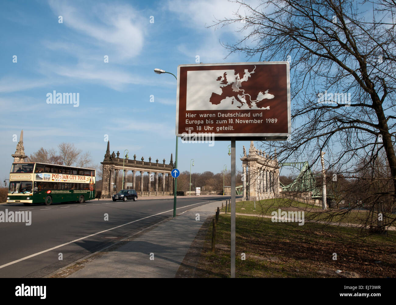 Glienicker Bruecke bridge, scene of Cold War spy exchanges - Stock Image