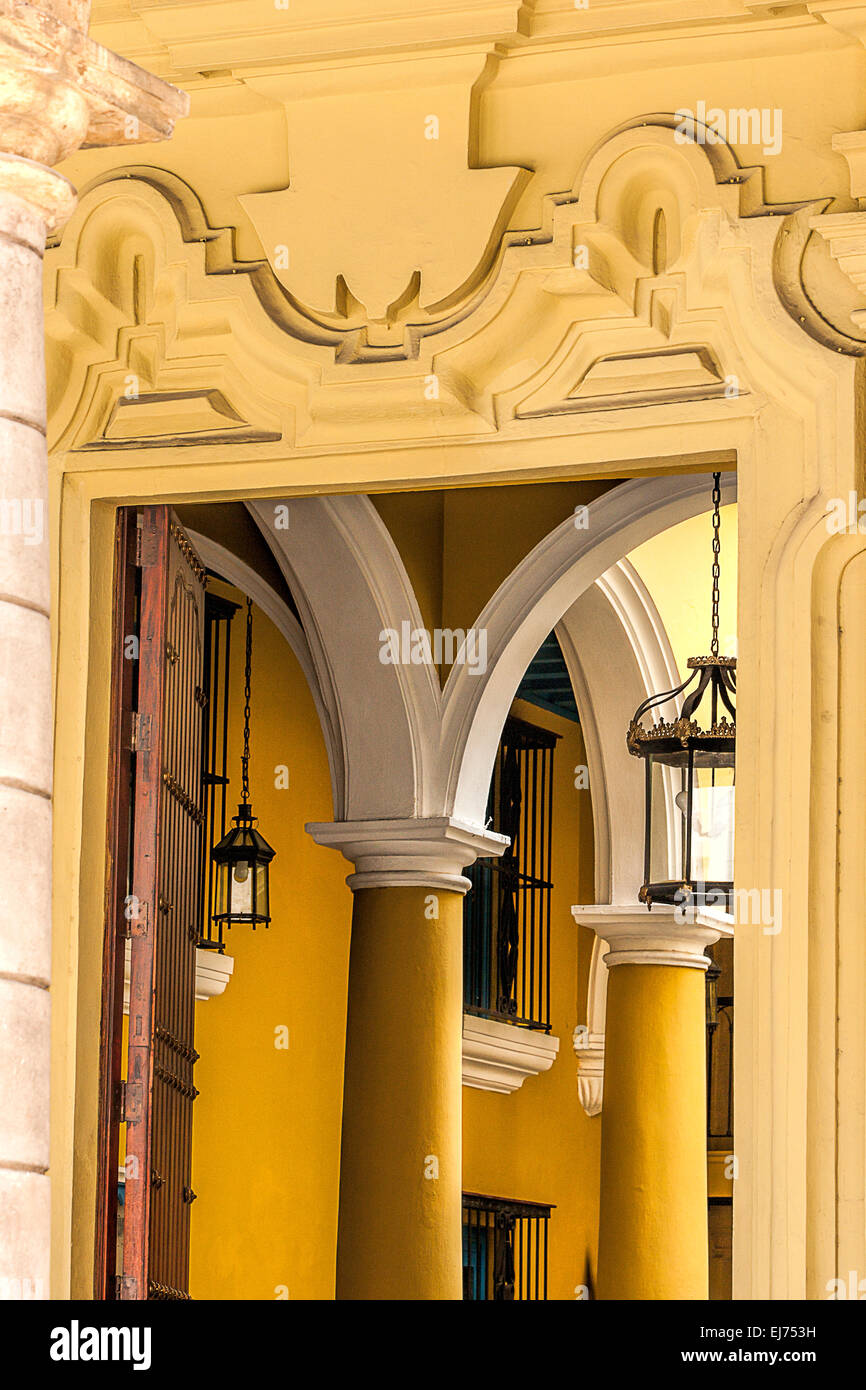 Close up an arch and wall decoration of a restored building in ...