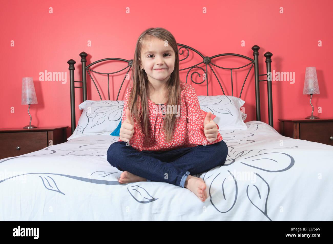 Beautiful Little Girl Sit Her Bedroom Stock Photo Alamy