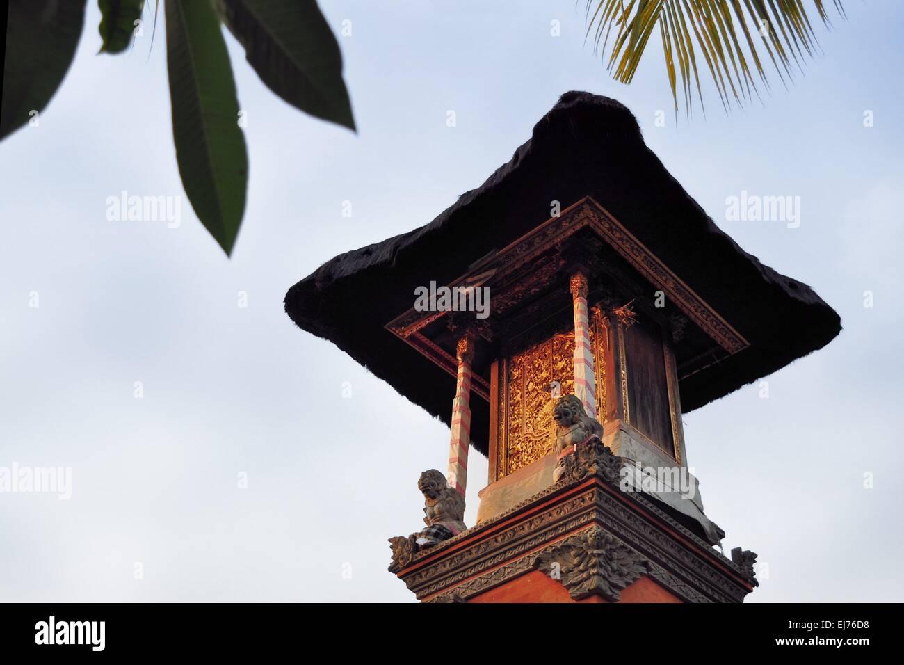 Little Hindu shrine in Ubud, Bali, Indonesia - Stock Image