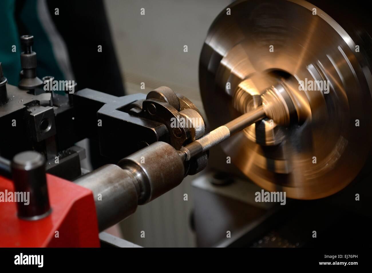 metal working lathe Stock Photo