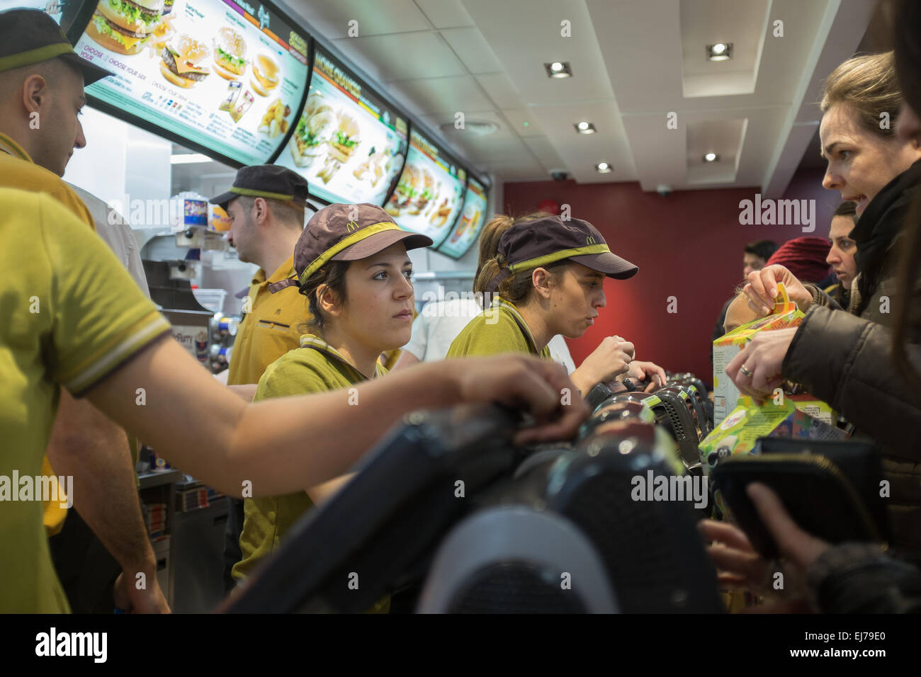 A branch of McDonald's busy lunchtime. - Stock Image