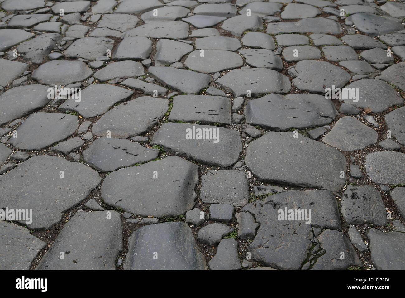 Italy. Rome. Via Sacra. Detail stone paving. Near Roman Forum. - Stock Image