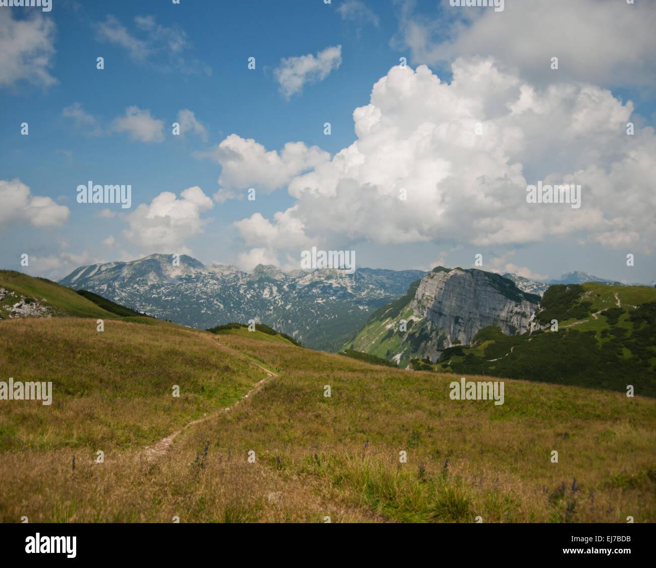 Blick vom Losergipfel über Bräuningzinken ins Tote Gebirge - Stock Image