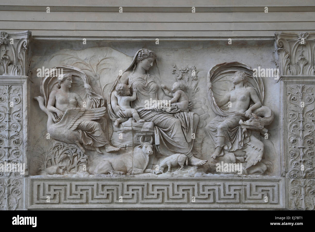Italy. Rome. Ara Pacis Augustae. Goddess Tellus (Earth) sits amid a scene of fertility and prosperity with twins. - Stock Image