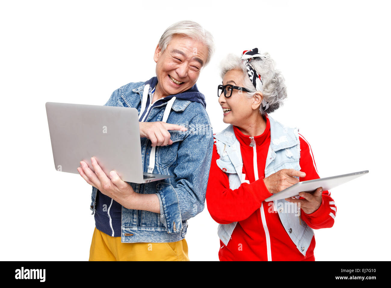 Fashion the old people to use electronic products - Stock Image