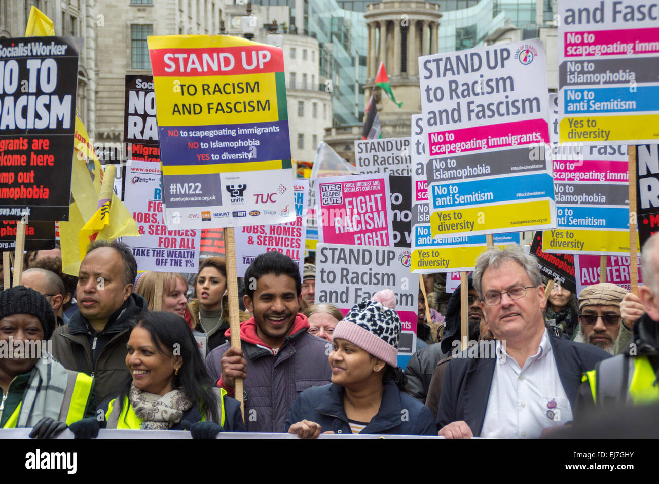 London UK, 21st March 2015: Protesters at the Stand Up To Racism & Fascism demonstration. - Stock Image