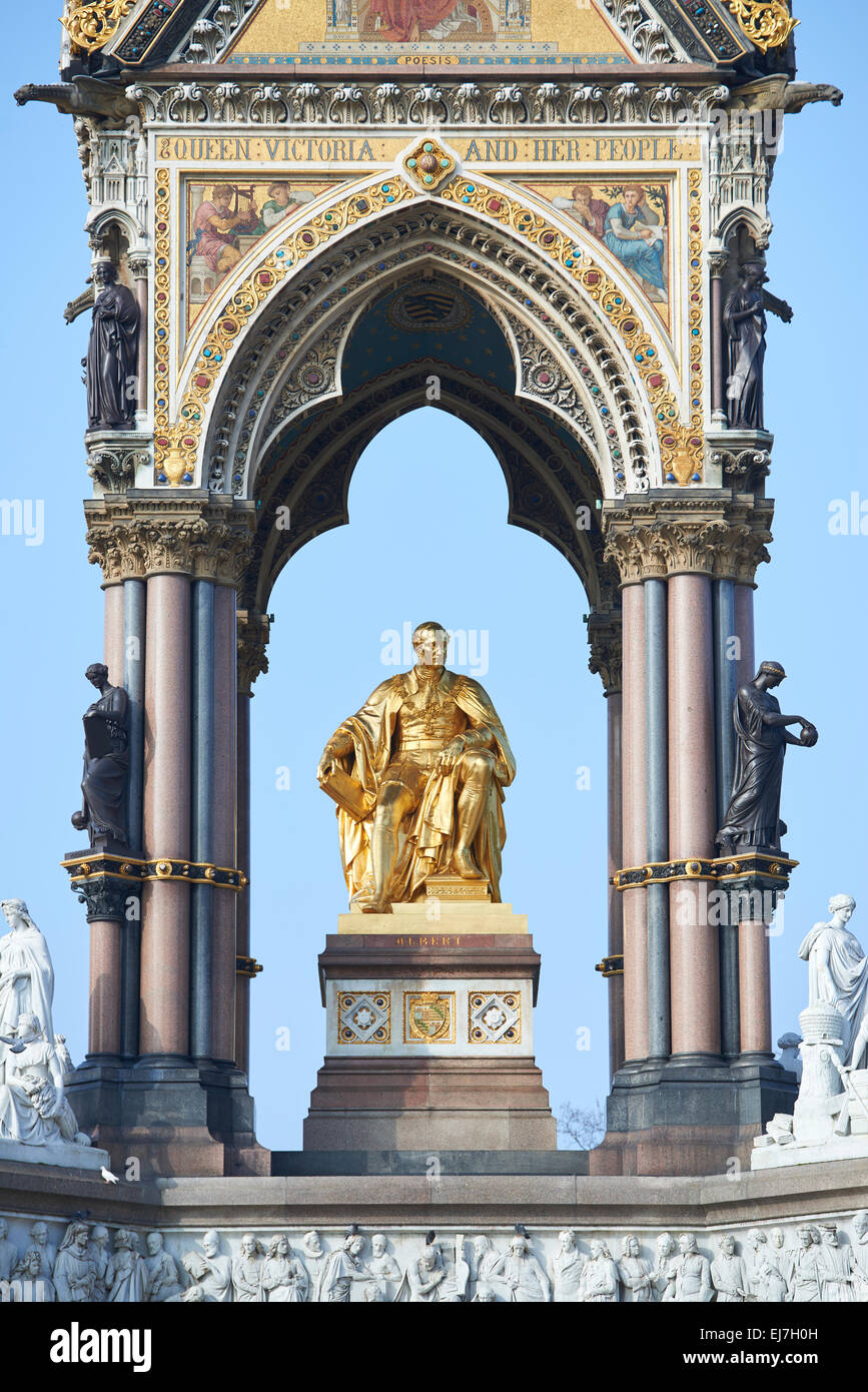 Detail of Albert Memorial, in Kensington Gardens, in London. The monument was commissioned by Queen Victoria Stock Photo