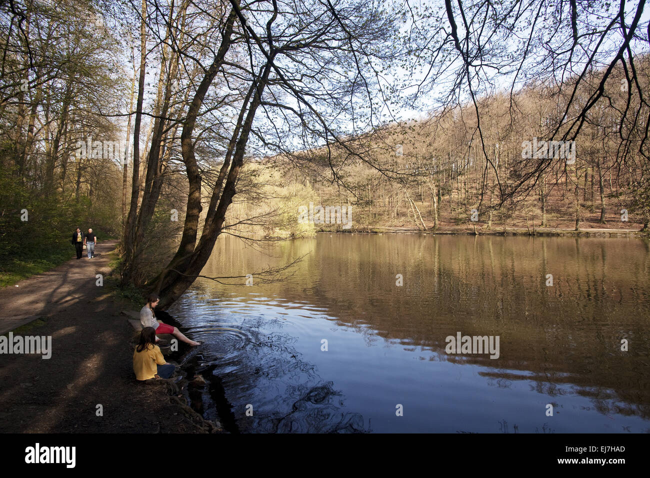 People on the hammer pond, Witten, Germany - Stock Image