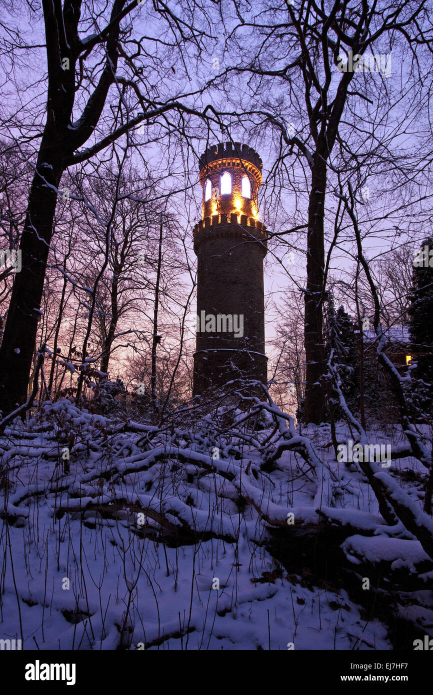 Lighted Helen Tower, Witten, Germany - Stock Image