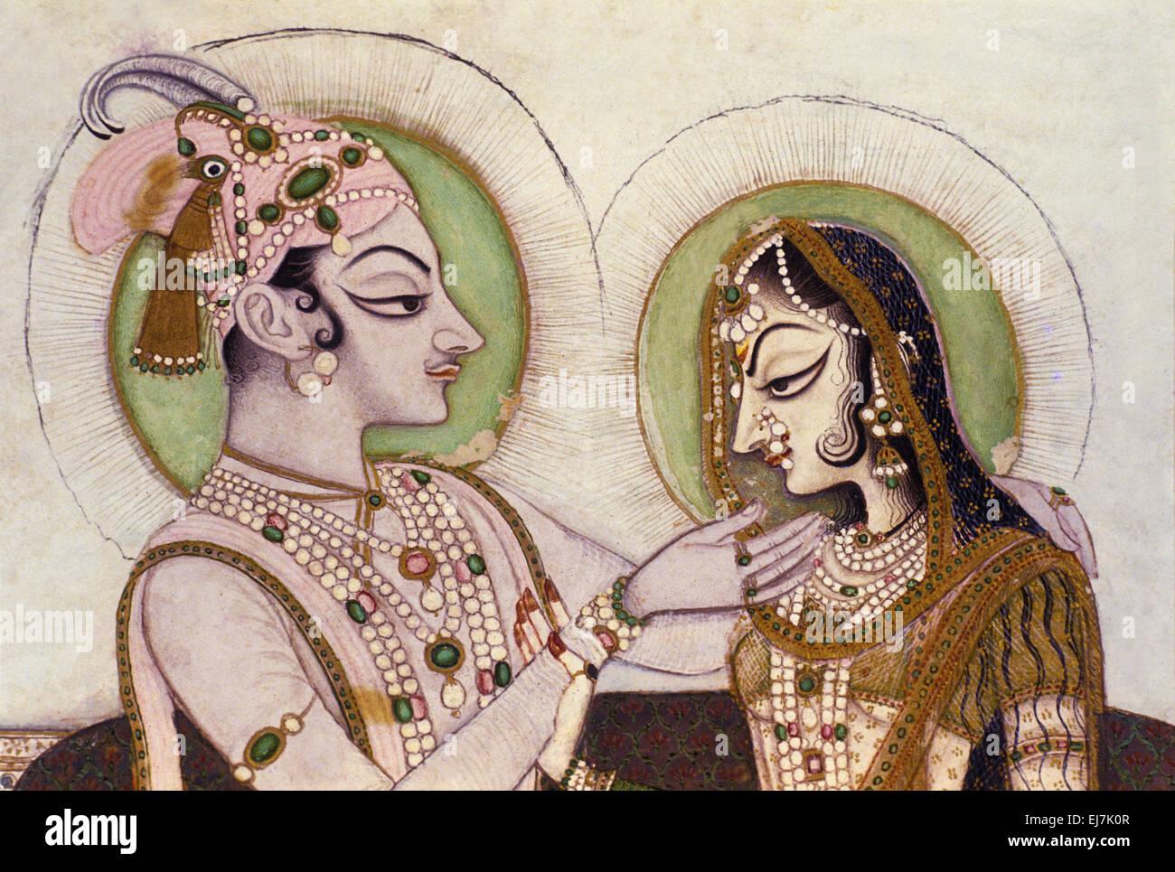 Savant Singh and Bani Thani as Krishna and Radha. Kishangarh, ca. 1760 AD India - Stock Image