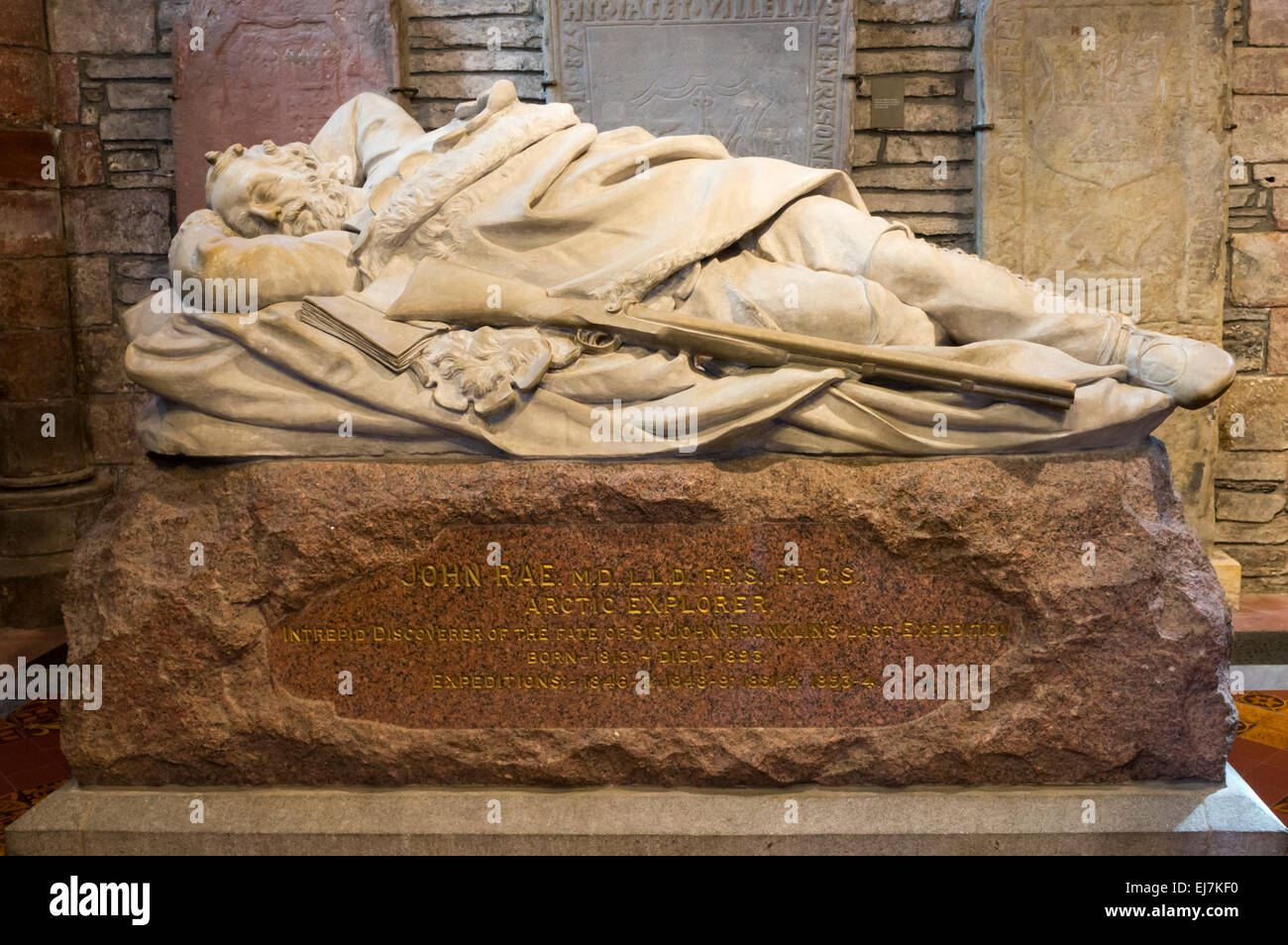 The memorial to John Rae in St Magnus Cathedral, Kirkwall, Orkney. SEE DETAILS IN DESCRIPTION. - Stock Image