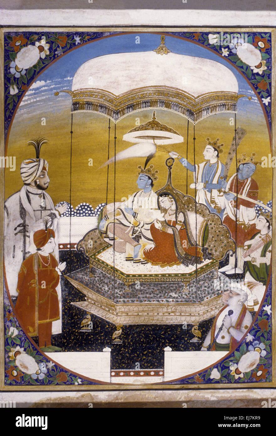 Radha and Krishna in a Pavilion. Sikh school circa 1850 AD India - Stock Image